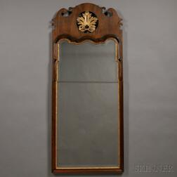 Large Queen Anne-style Mahogany Veneer and Parcel-gilt Pier Mirror