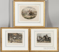 Three Framed Color Lithographs After Darley