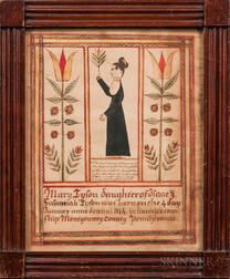 Polychrome Watercolor Fraktur Birth Record for Mary Tyson