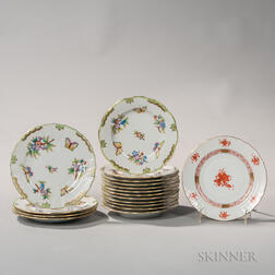 "Sixteen Pieces of Herend Porcelain ""Queen Victoria"" Pattern Tableware"