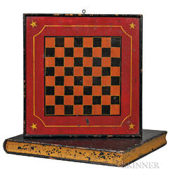 Boxed Painted Checkers/Backgammon Game Board