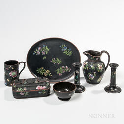 Seven Wedgwood Enameled Black Basalt Items