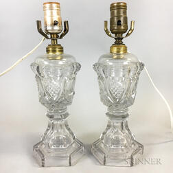 Near Pair of Colorless Pattern Glass Lamps