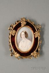 Oval Gilt-metal and Velvet Framed Miniature Watercolor Portrait of a Young Lady on   Ivory