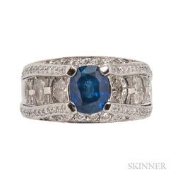 Platinum, Sapphire, and Diamond Ring, JB Star