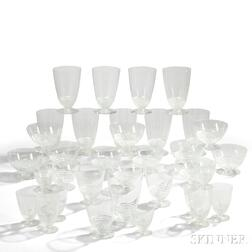 """Thirty-Four Pieces of Rene Lalique """"Nippon"""" Pattern Stemware"""