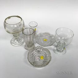 Twenty-seven Colorless Glass Tableware Items