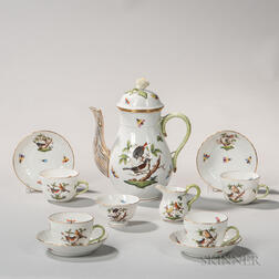 "Herend Porcelain ""Rothschild Bird"" Pattern Tea Set"