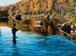 Adriano Manocchia (American, b. 1951)      Fly Fisherman on a Quiet Autumn River