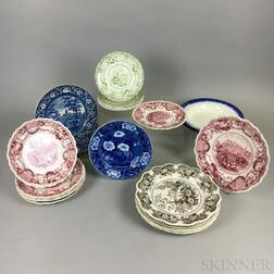 Twenty-four Mostly 19th Century Transfer-decorated Ceramic Plates