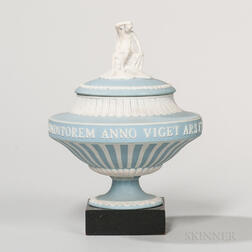Wedgwood Light Blue Jasper Dip Apollo Vase and Cover