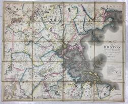 Boston. John G. Hales (1785-1832) Map of Boston and its Vicinity from Actual Survey.