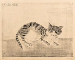 Léonard Tsuguharu Foujita (French/Japanese, 1886-1968)      Chat assis de face