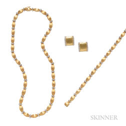 18kt Gold Necklace, Bracelet, and Earrings