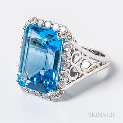 14kt Gold, Blue Topaz, and Diamond Cocktail Ring