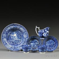 Six Historical Blue and White Transfer-decorated Staffordshire Table Items