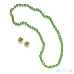 Gold, Jade, and Diamond Necklace and Earclips, Gump's