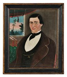 William Matthew Prior (Massachusetts, Maine, 1806-1873)      Portrait of a Man with an Earring in Front of a Window
