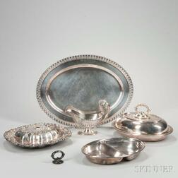 Five Pieces of Silver-plated Tableware