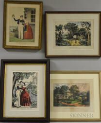 Eight Framed Currier & Ives Engravings and Prints.     Estimate $400-600