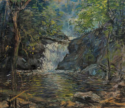 Arthur Clifton Goodwin (American, 1866-1929)      Shady Woodland Brook and Waterfall