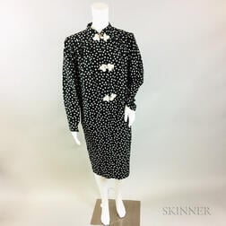 Black and White Silk Polka Dot Dress