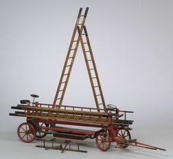 Painted-Wood Model of a Hook and Ladder Fire Truck
