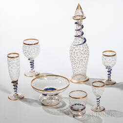 Twenty Pieces of Moser-type Glass Tableware