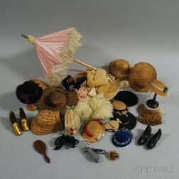 Small Group of Doll Hats and Accessories