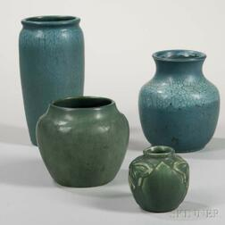 Three Hampshire Vases and a Van Briggle Pottery Vase