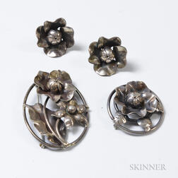 Two Attributed to Walter Meyer for Georg Jensen Sterling Silver Floral Brooches and a Pair of Similar Earclips
