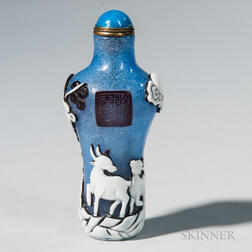 Blue Snowflake Peking Glass Snuff Bottle