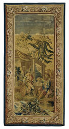 Aubusson Tapestry of Two Chinamen Taking Tea