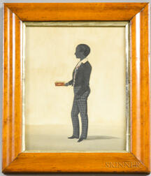 English Watercolor Silhouette of a Boy Holding a Book