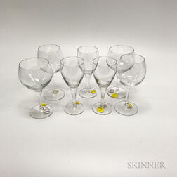 Thirty-one Pieces of Colorless Glass Stemware