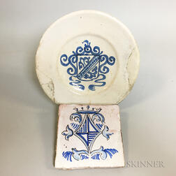 Blue and White Delft Ceramic Tile and Plate