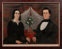 Attributed to Sturtevant J. Hamblen (Maine/Massachusetts, act. 1837-1856)      Double Portrait of a Husband and Wife