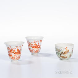 Three Enameled Porcelain Cups