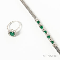 18kt White Gold, Emerald, and Diamond Bracelet and Ring