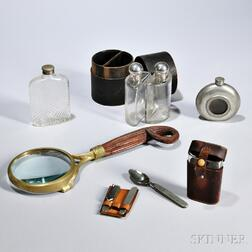 Group of Gentlemans Items, late 19th/early 20th century, including a pewter flask with engraved sailboat to interior, a Universal di