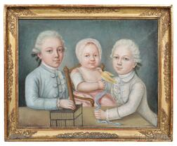 French School, Late 18th Century    Portrait of Three Children and Their Pet Canary