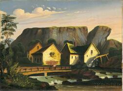 Thomas Chambers (New York/England, 1808-1869)      Riverside Buildings Below a Cliff
