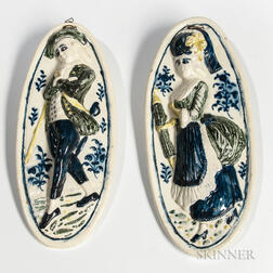 "Pair of Staffordshire Wieldon ""Patricia and her Lover"" Plaques"