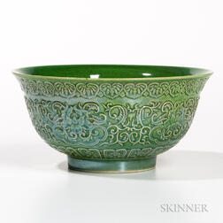 Fluorescent Green-enameled Bowl
