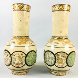 Pair of Export Cream-glazed Satsuma-style Vases