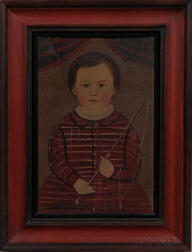 Attributed to William Matthew Prior (Massachusetts/Maine, 1806-1873)      Portrait of a Boy in a Red Dress Holding a Riding Crop