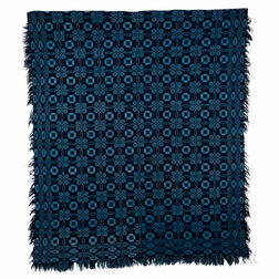 """Unusual Light Blue, Double Weave Coverlet with """"Lover's Knot"""" Design"""