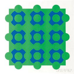 Victor Vasarely (Hungarian/French, 1908-1997)      Untitled (Blue and Green)