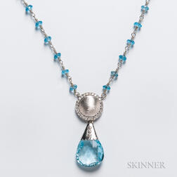 14kt White Gold, Blue Topaz, and Diamond Necklace
