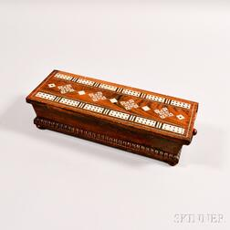 Rosewood Mother-of-pearl- and Pewter-inlaid Cribbage Board/Box